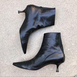Manolo Blahnik Black Kitten Heel Ankle Booties